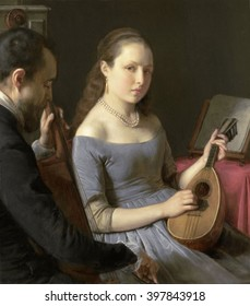 The Duet, by Charles van Beveren, 1830-50, Dutch painting, oil on panel. A young woman plays a lute with a man on a cello