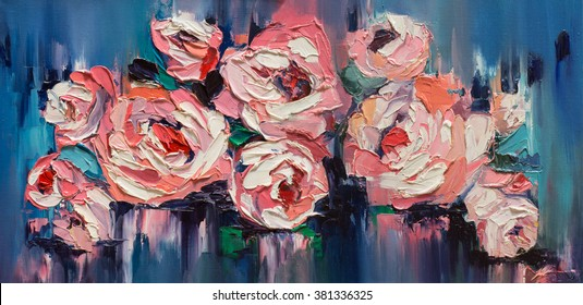 """""""Duet"""", peonies on a smooth Original oil painting on canvas"""