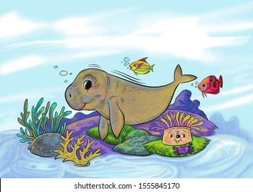 The dugong lives in coral reefs.Nice digital image illustration for undersea image illustration,dugong cartoon illustration,postcard, background,book illustration,poster for kids,animls poster.