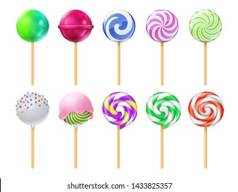 Dulce lollipops. Sweet sugar candy stick isolated set. Lollipop dessert on stick, caramel striped illustration