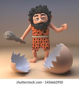 Dumb caveman savage character with club looks at a broken dinosaur eggshell, 3d illustration render