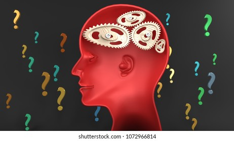 Dumb individual - human head with twisted and misaligned wooden cogwheels inside, symbolizes stupidity, idiocy, being a dumb person, 3d illustration