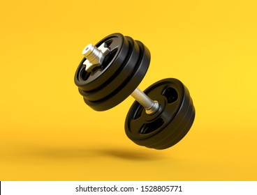 Dumbbell with black plates levitating in air on bright yellow background. Front view with copy space. Creative concept. 3d rendering illustration