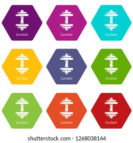 Dumbbell icons 9 set coloful isolated on white for web