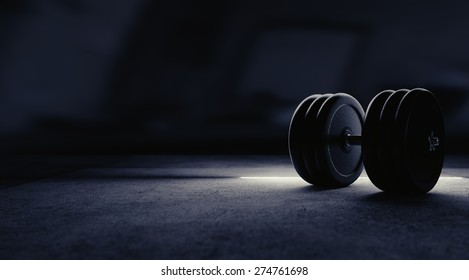 Dumbbell illustration with artistic rim lightning.