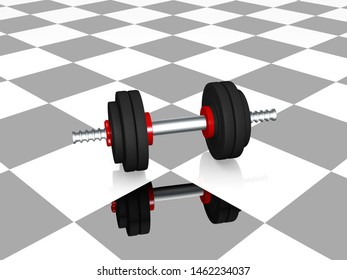 Dumbbell on black and white checkered ground with reflection. 3d rendering