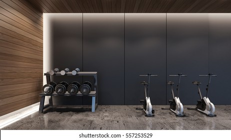 Dumbbell rack and cycling machines in modern gym / 3D Rendering
