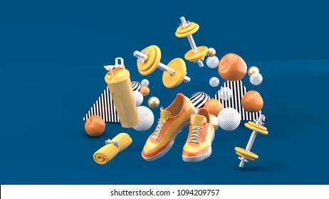 Dumbbell,Running Shoes ,Orange Towel Among the colorful balls on the blue background.-3d render.