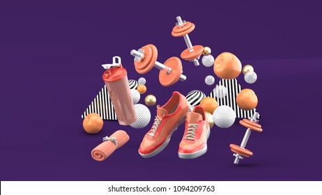 Dumbbell,Running Shoes ,Orange Towel Among the colorful balls on the purple background.-3d render.