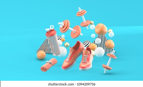 Dumbbell,Running Shoes ,Pink Towel Among the colorful balls on the blue background.-3d render.