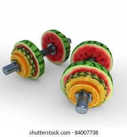 Dumbbells consisting of fruits