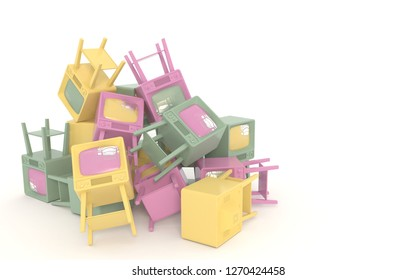 Dump of old retro televisions in cartoon style isolated on white background. Pastel colors. Copy space. 3D illustration.