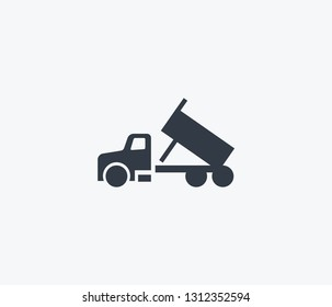 Dump truck icon isolated on clean background. Dump truck icon concept drawing icon in modern style.  illustration for your web mobile logo app UI design.