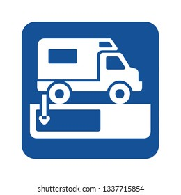Dumping station for recreational vehicle symbol
