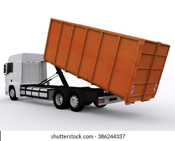 Dumpster container on truck