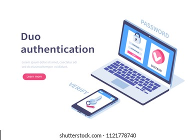 Duo authentication concept banner with text place. Can use for web banner, infographics, hero images. Flat isometric illustration isolated on white background.
