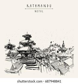 Durbar square Hindu temples in Basantapur, Kathmandu, Nepal. Travel sketch. Hand drawing. Vintage touristic postcard, poster, book illustration