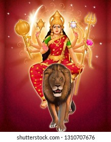 Durga, identified as Adi Parashakti, is a principal and popular form of Hindu Goddess.She is the warrior goddess, whose mythology centres around combating evils and demonic forces that threaten peace.
