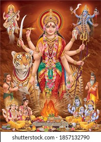 Durga Mata with colorful background, digital wall poster
