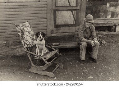 During the Great Depression foreclosed farmers moved to nearby towns Hoovervilles. Photo shows former farmer William Swift in his squatter shack in Circleville, Ohio. 1938 photo by Ben Shahn.