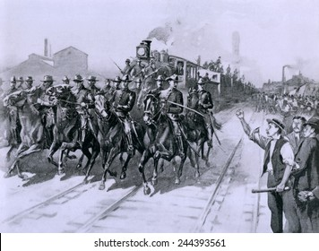 During the Pullman Strike of 1894, the first meat Train leaving Chicago Stock Yards was escorted by United States Cavalry, July 10, 1894.