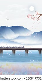 During the Spring Festival, people took a train from a foreign land to their hometown to go home to reunite the Chinese New Year landscape paintings.