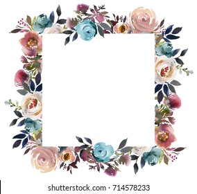 Dusk Blue Pale Pink Gray White Watercolor Floral  Square Frame