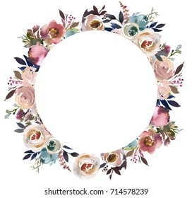 Dusk Blue Pale Pink Gray White Watercolor Floral Round Frame.