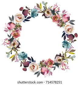 Dusk Blue Pale Pink Gray White Watercolor Floral Round Wreath.