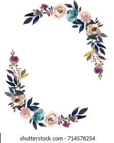 Dusk Blue Pale Pink Gray White Watercolor Floral Semi Wreath.