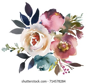 Dusk Blue Pale Pink Gray White Watercolor Floral Round Bouquet.