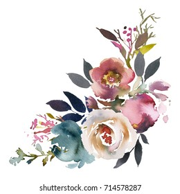 Dusk Blue Pale Pink Gray White Watercolor Floral Corner Bouquet.
