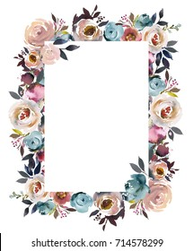Dusk Blue Pale Pink Gray White Watercolor Floral Rectangular Frame.