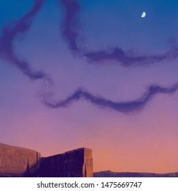 Dusk and a half moon over a southwestern desert