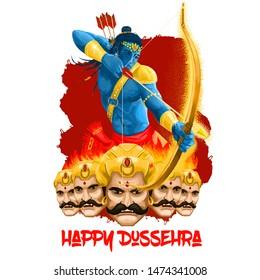 Dussehra Dashain major Hindu festival celebrated at end of Navratri. Vijayadashami Dasahara, Dusshera, Dasara, Maha Durga, Chandika Aparajita digital art illustration, t-shirt print, man with arrow