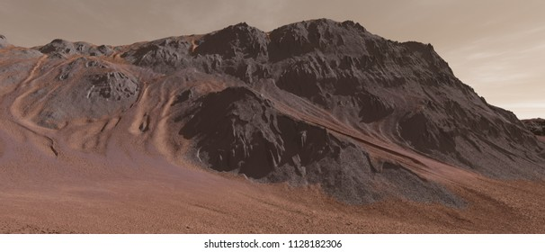 Dust avalanches on Martian hills - 3D Illustration