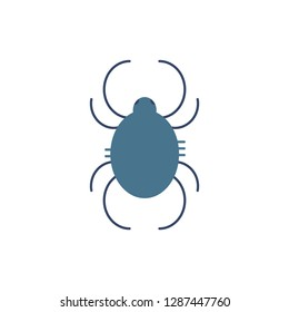 Dust mite symbol - trigger of year-round allergy and asthma in flat style isolated on white background. Pictogram of small dangerous arthropod animal in illustration.