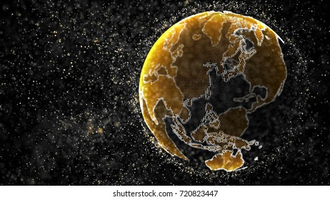Dust particles cloud surrounding a yellow Earth globe. Technology, science and engineering background. Depth of field settings. 3D rendering.