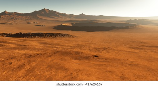 Dust storm on Mars. Sunset on Mars. Martian landscape with craters. 3D