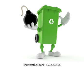 Dustbin character holding bomb isolated on white background. 3d illustration