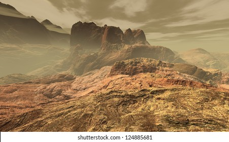 Dust-storm transiting rocky citadel in igneous Martian uplands
