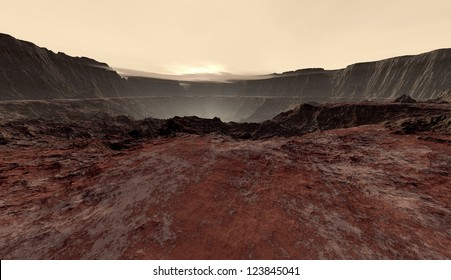 Dusty haze settling into Martian crater