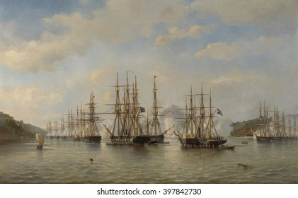 Dutch, English, French and American Squadrons in Japanese Waters during the Expedition, Sept. 1864, by Jacob van Heemskerck, 1864, Dutch painting, oil on canvas. Fleet of European sailing ships and st