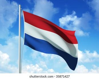 dutch flag in blue sky background - 3d rendered image