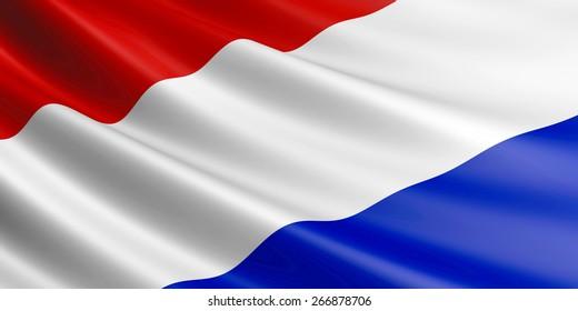 Dutch flag fluttering in wind.