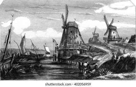 Dutch landscape by Flers, vintage engraved illustration. Magasin Pittoresque 1847.