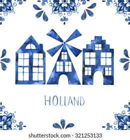 Dutch ornaments with mill and houses illustration (Delft blue style). Holland (Amsterdam) motives