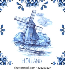Dutch ornaments with mill illustration (Delft blue style). Holland (Amsterdam) motives