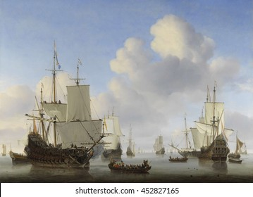 Dutch Ships in a Calm, by Willem van de Velde (II), c. 1665, Dutch painting, oil on canvas. In center, a sloop with trumpeters carrying commanders to a warship whose crew is hoisting sails and raisin
