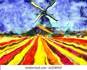 Dutch windmill tulip filed impressionist oil painting